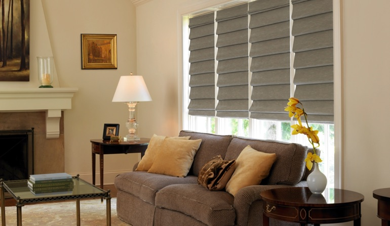 Roman Shades In Living Room