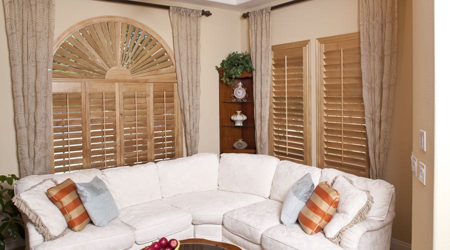 Arched Ovation Wood Shutters In New Brunswick Living Room