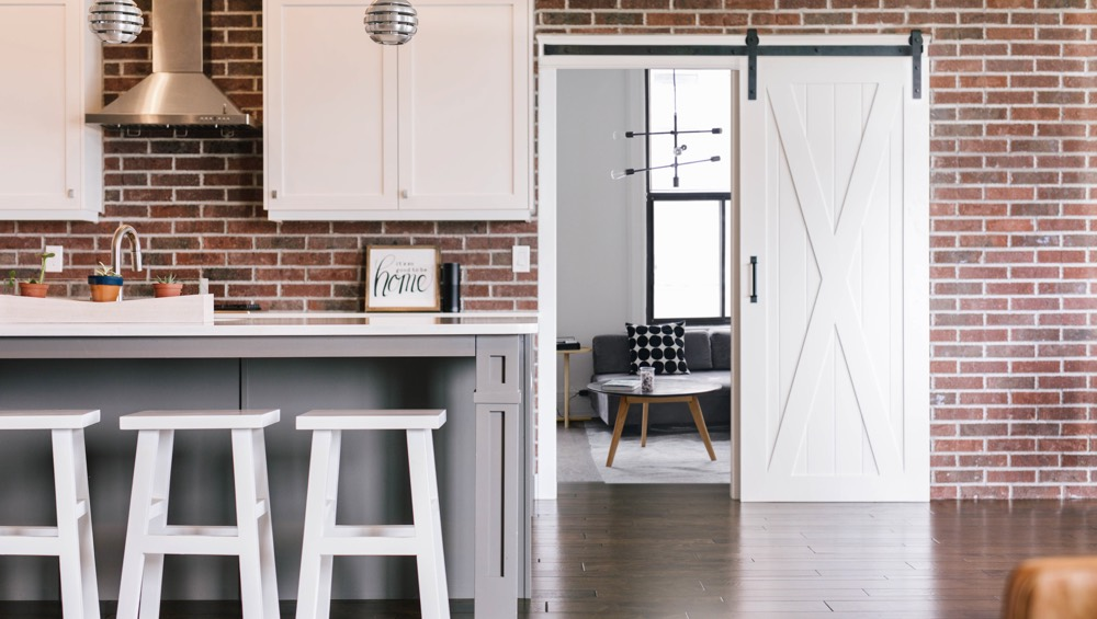 New Brunswick exposed brick barn door
