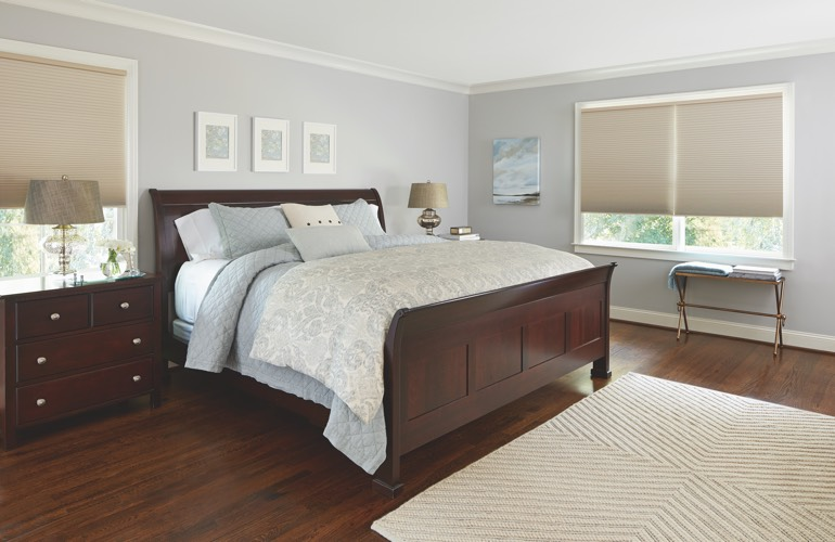 Tan shades in a New Brunswick bedroom.