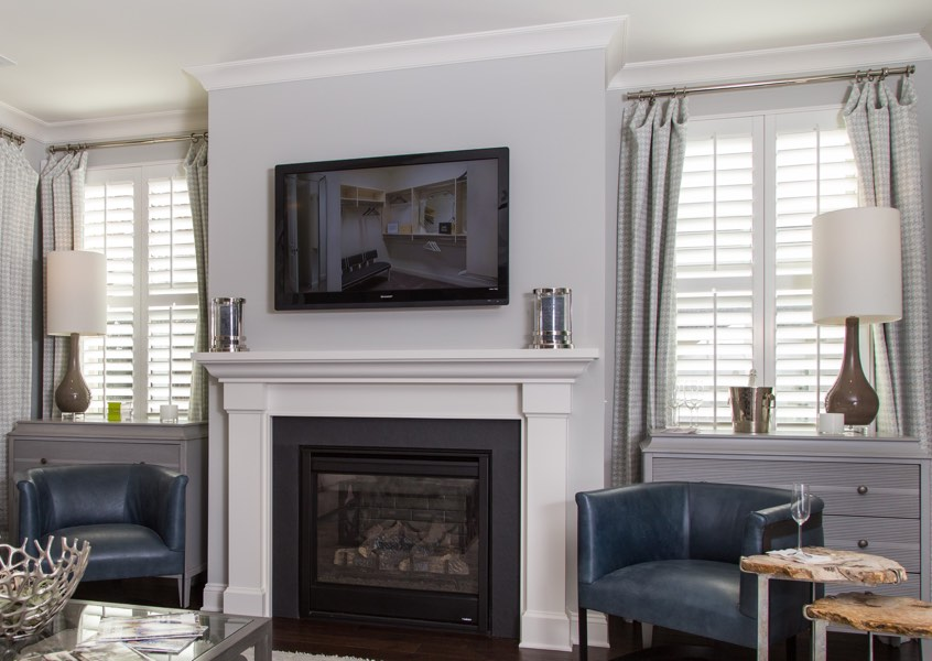 living room New Brunswick faux wood shutters