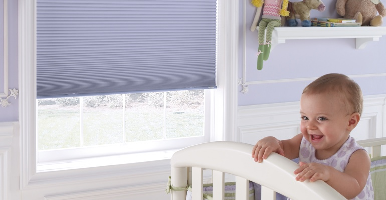 New Brunswick child's nursery with cellular shades.