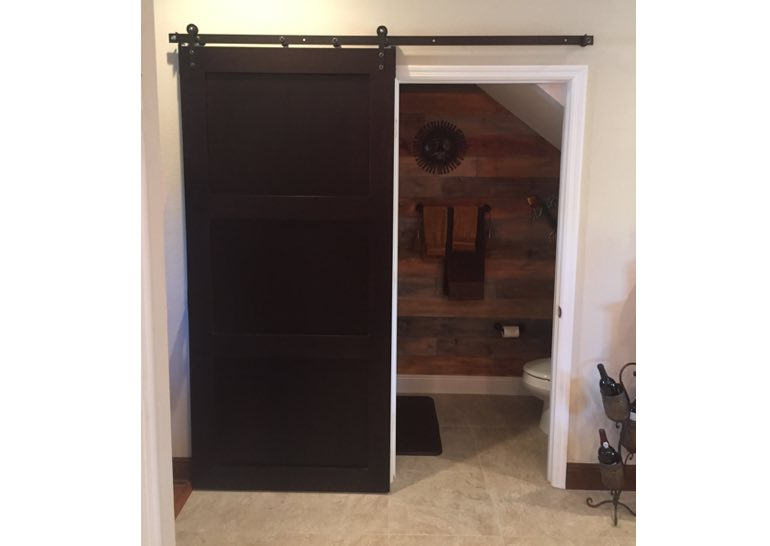 Dark Brown Barn Door Used As Bathroom Door 🚪 Part 78