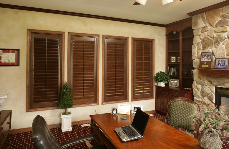 Wooden plantation shutters in a New Brunswick home office
