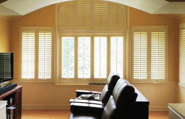 New Brunswick plantation shutters in home theater