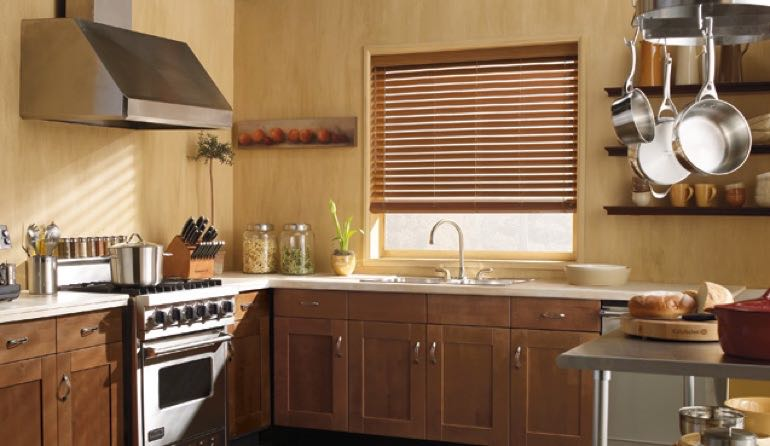 New Brunswick kitchen faux wood blinds.