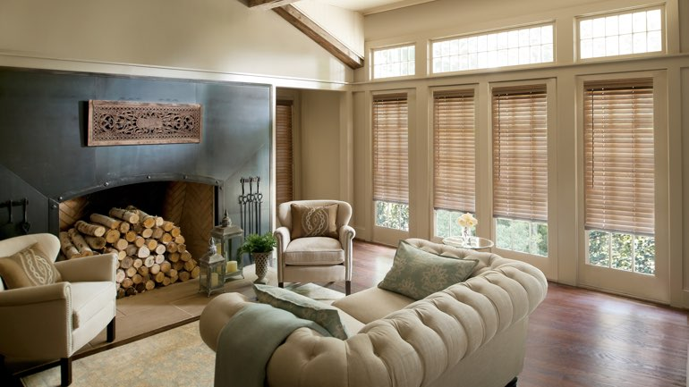 New Brunswick fireplace with blinds