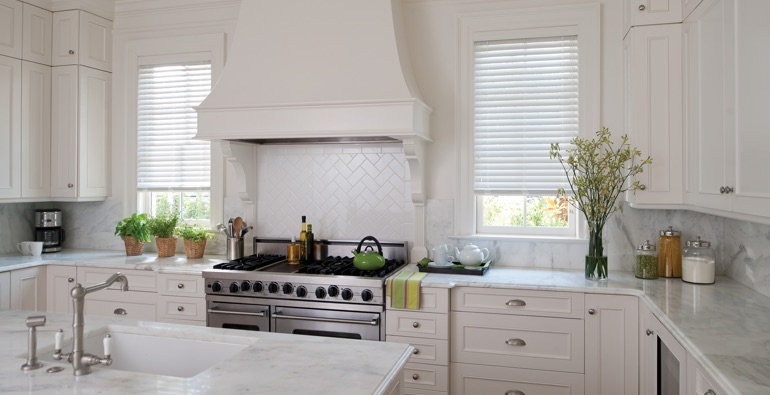 New Brunswick kitchen white blinds