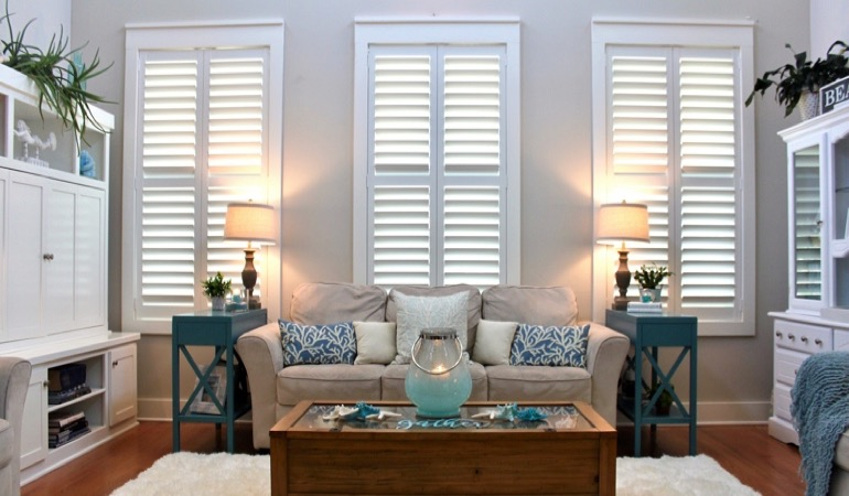 New Brunswick modern sunroom with plantation shutters