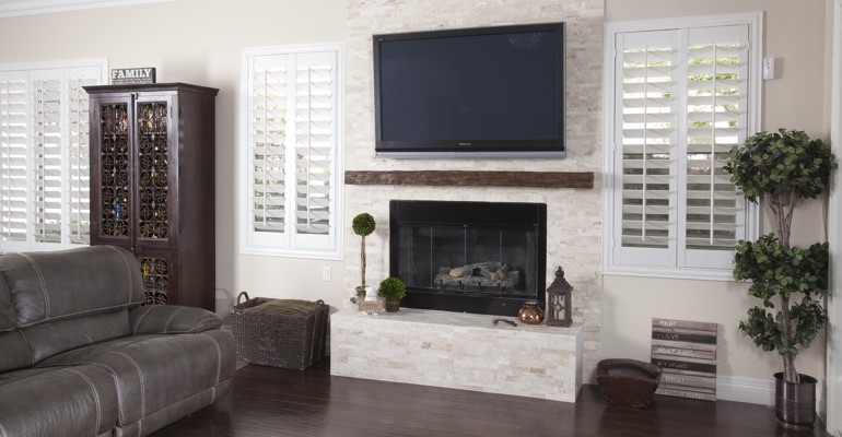 white shutters in New Brunswick family room