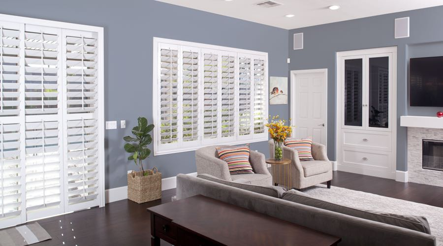Faux Wood Shutters In blue New Brunswick Living Room