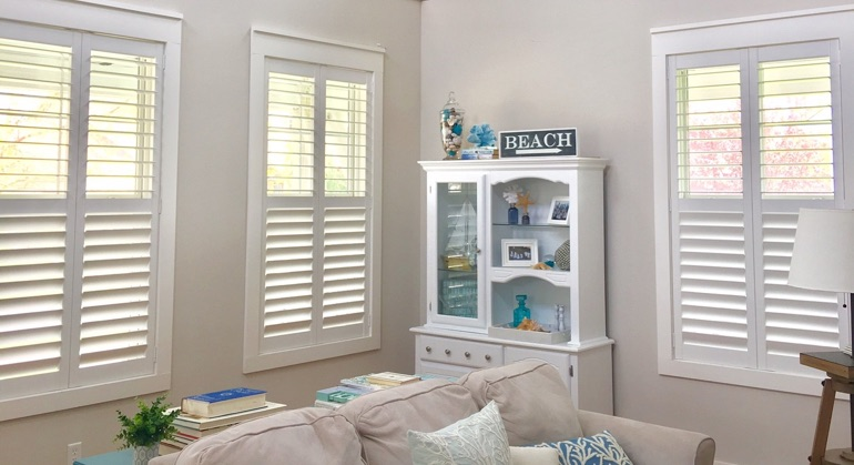Polywood shutters in New Brunswick sunroom