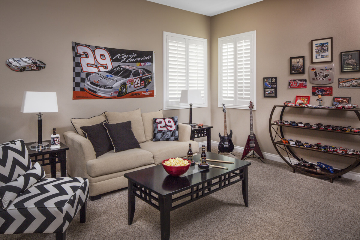 New Brunswick man cave with shutters
