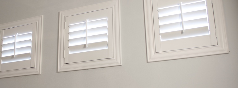 Small Windows in a New Brunswick Garage with Plantation Shutters