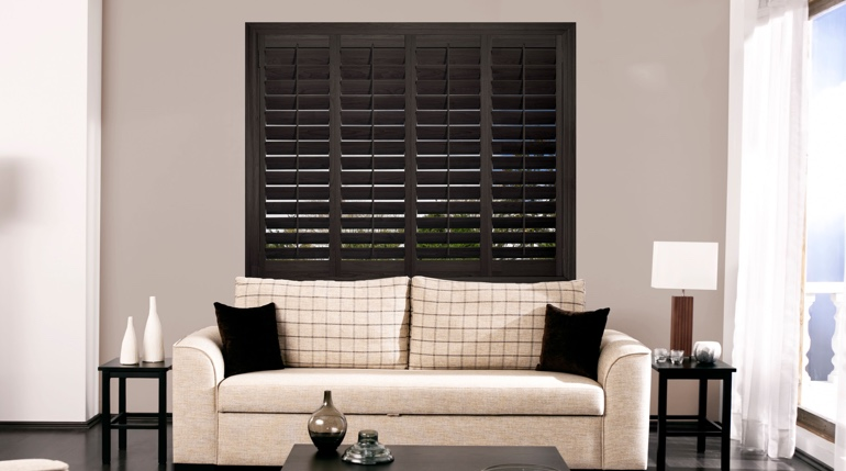 New Brunswick living room with plantation shutters.