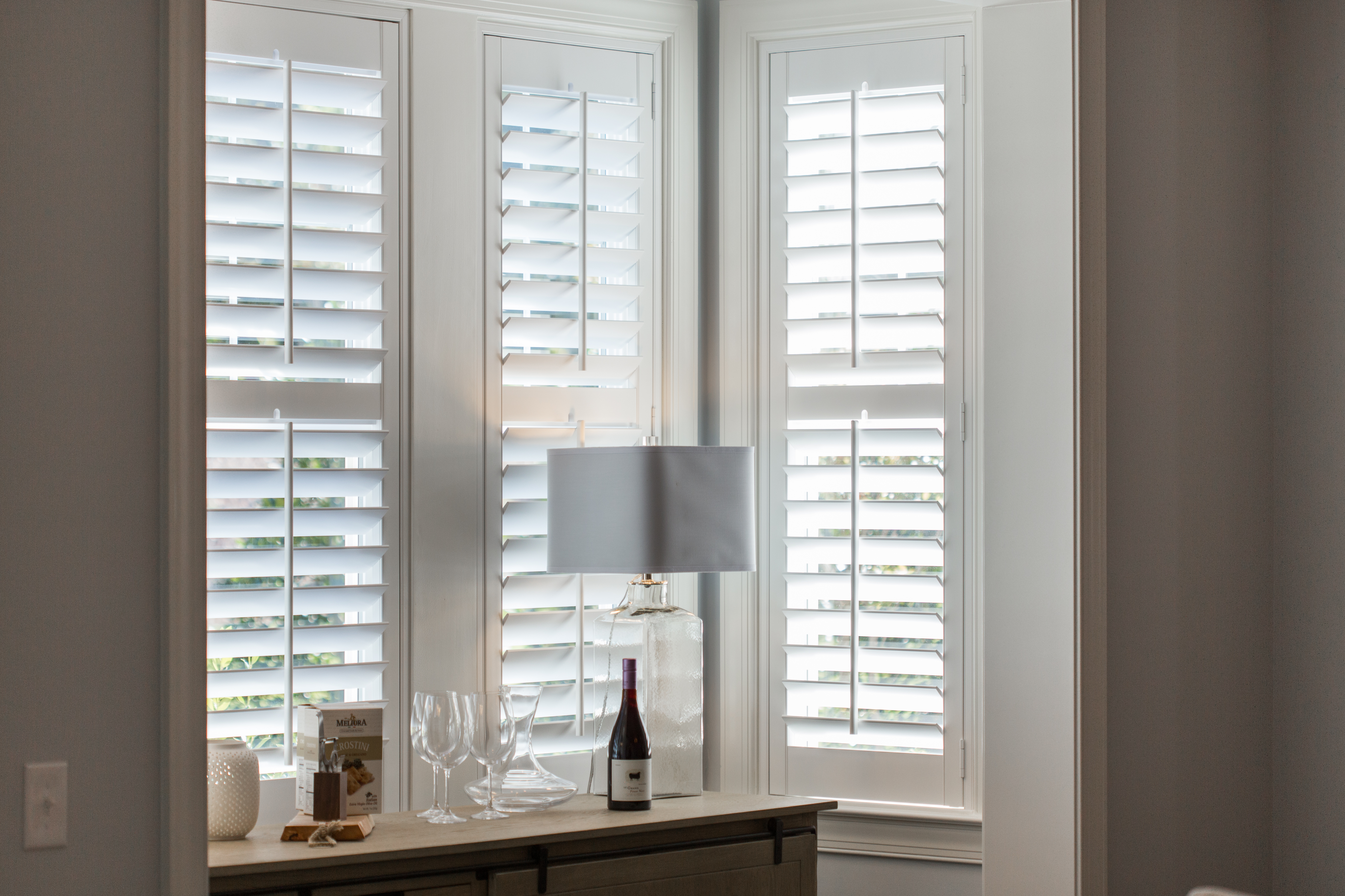 Polywood shutters in New Brunswick alcove.