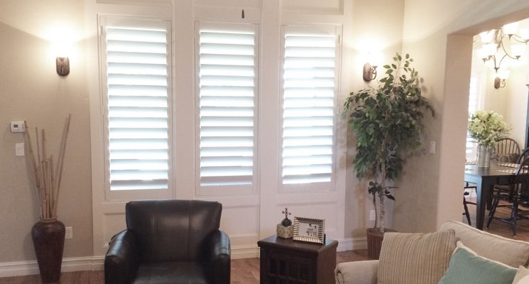 New Brunswick family room white shutters