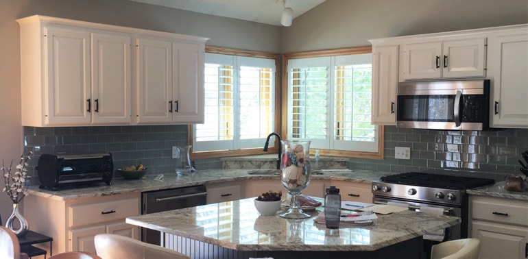 New Brunswick kitchen with shutters and appliances