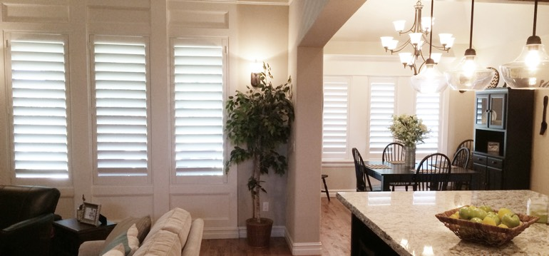 New Brunswick shutters in kitchen and family room