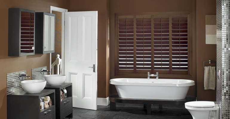 New Brunswick bathroom shutters wood stain