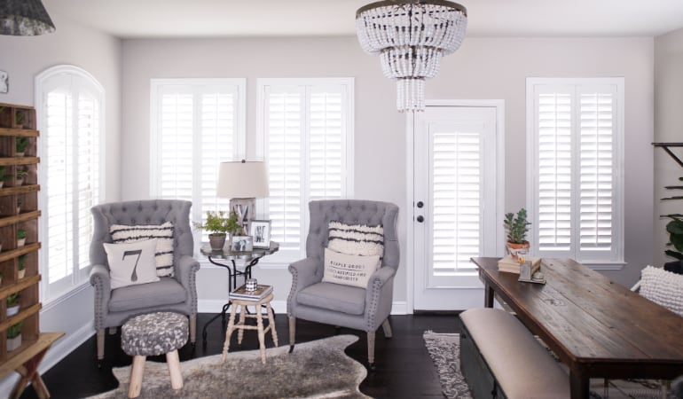 Plantation shutters in a New Brunswick living room