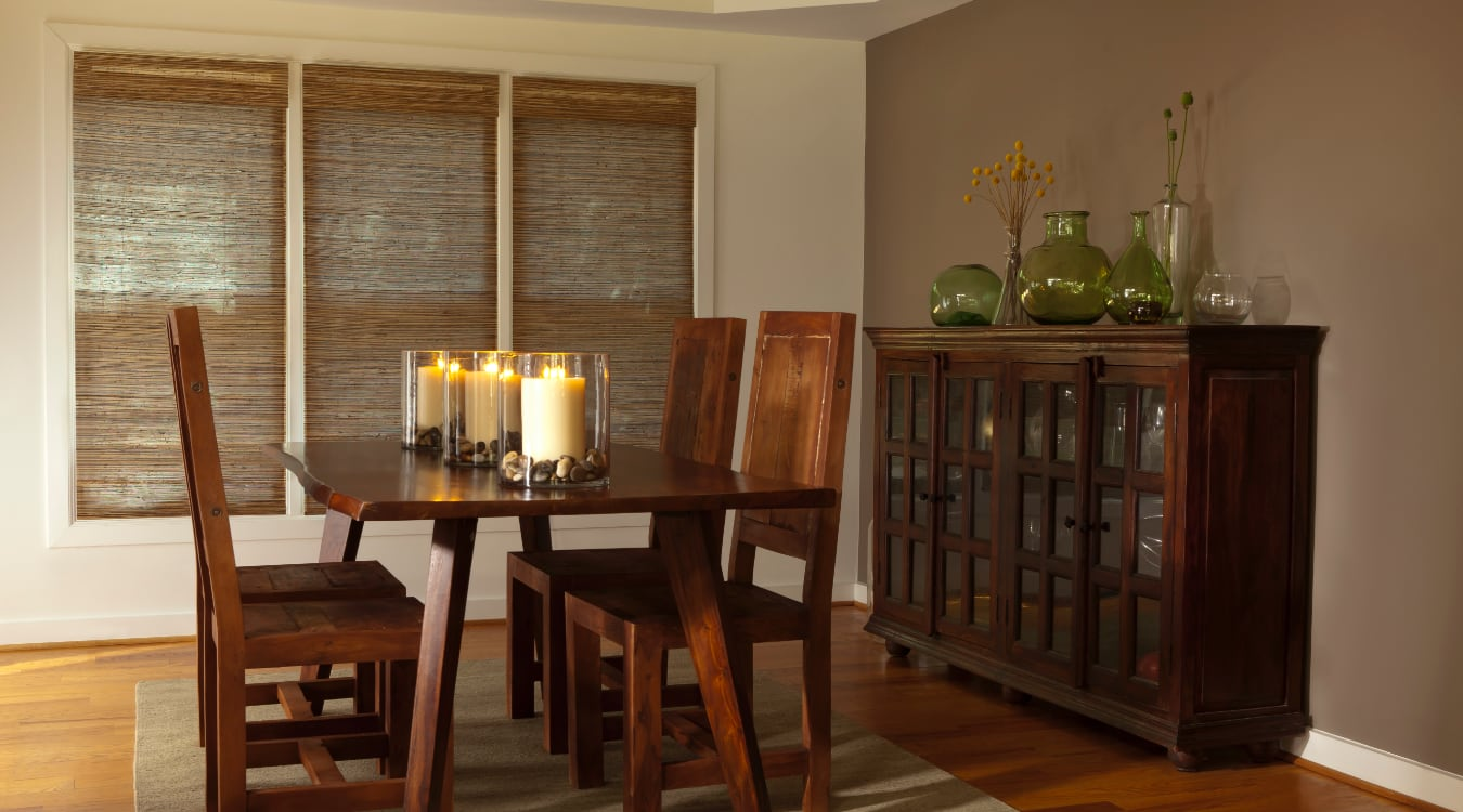 Woven shutters in a New Brunswick dining room.