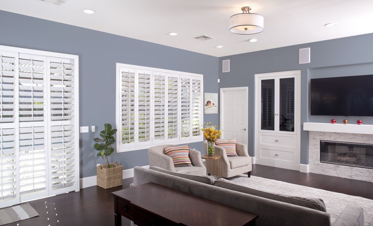 Plantation Shutters In A New Brunswick Living Room.