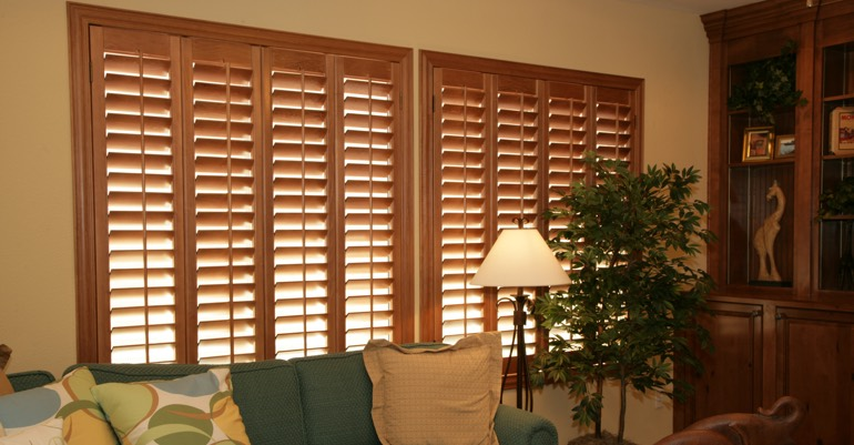Wood shutters in New Brunswick living room.