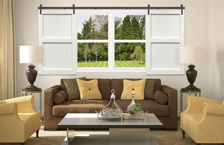 Newest Trends In Window Treatments In New Brunswick: Sliding Barn Door Shutters